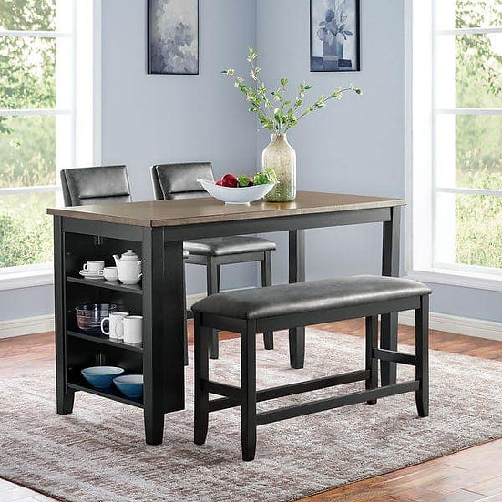 Furniture of America Kearney Counter Ht. Table Set with bench