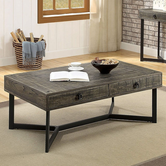 Furniture of America Industrial Oak Solid Wood Coffee Table