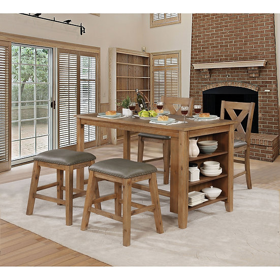 Furniture of America Lana Counter Ht. Table Dining Set w/stools