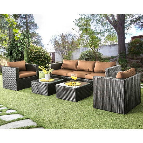 Furniture of America Olina Contemporary Brown 5-piece Outdoor Sofa Set