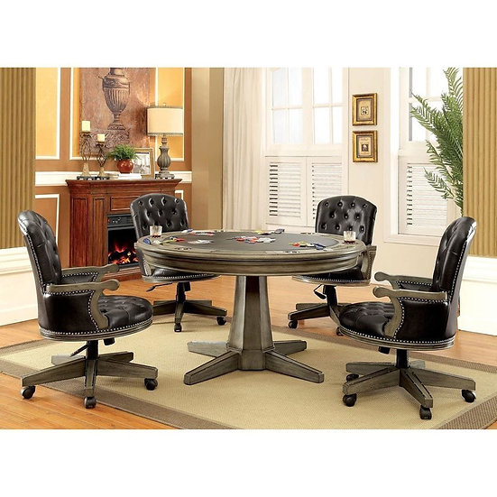 Furniture of America Yelena Traditional Grey Solid Wood Game Table