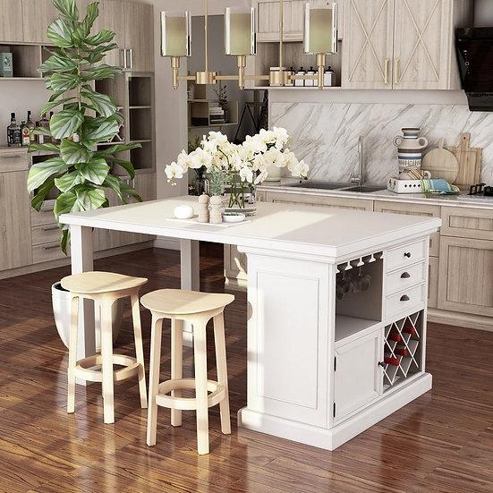 Furniture of America Antique White Transitional White 66-inch Kitchen Island