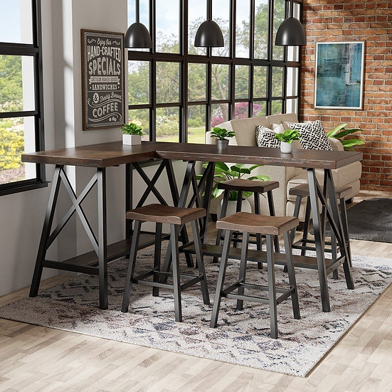 LAINEY L-SHAPE COUNTER HT. TABLE W/STOOLS