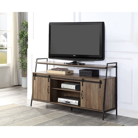 ACME Rashawn TV stand in Rustic Oak and Black Finish