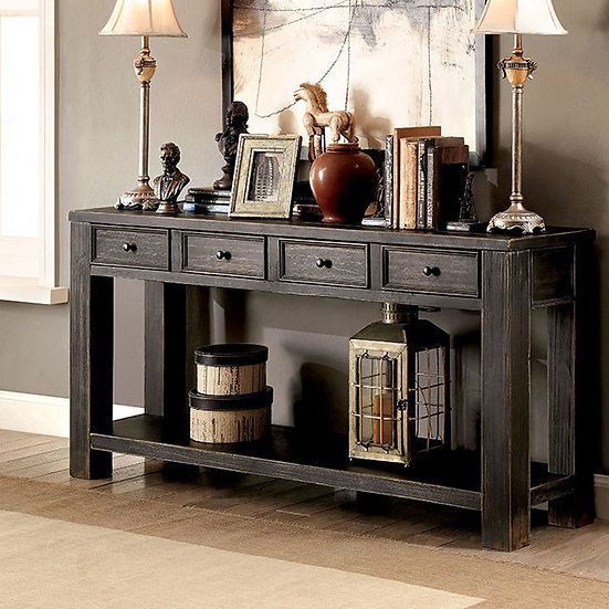 Furniture of America Rustic Solid Wood 4-drawer Sofa Table