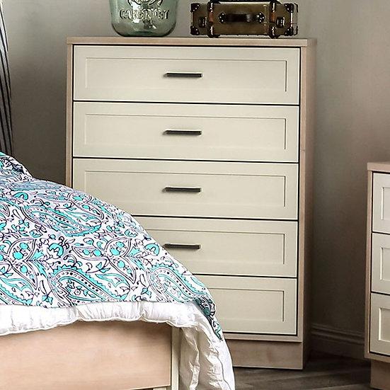 Furniture of America Roseburg Mid-Century Modern Cream 5-drawer chest Dresser