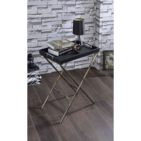 ACME Black Weave & Antique Gold Tray Table