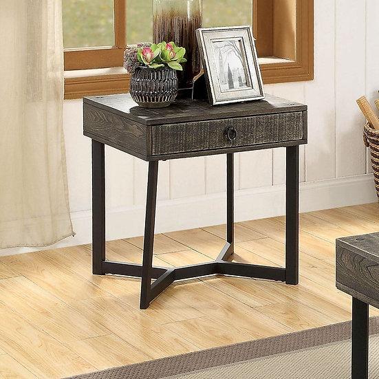 Furniture of America Industrial Oak Solid Wood End Table