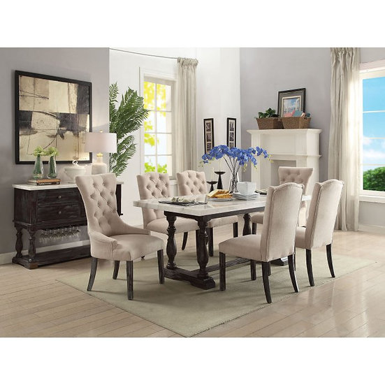 Acme 7-Piece White Marble & Weathered Espresso Dining Set
