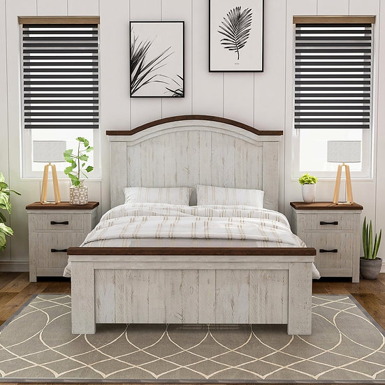 Furniture of America Rustic White 3-piece Bedroom Set with 2 Nightstands