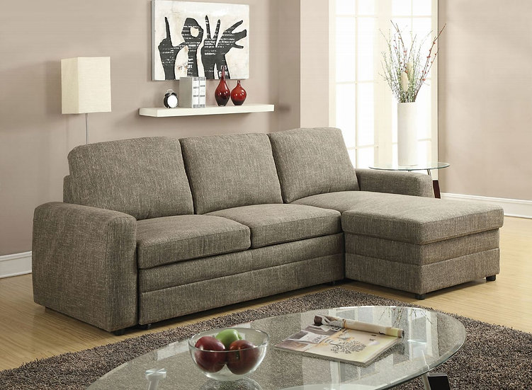 Derwyn Sectional Sofa with Pull-Out Bed, Light Brown Linen