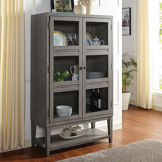 Furniture of America Transitional Grey Solid Wood Curio Cabinet