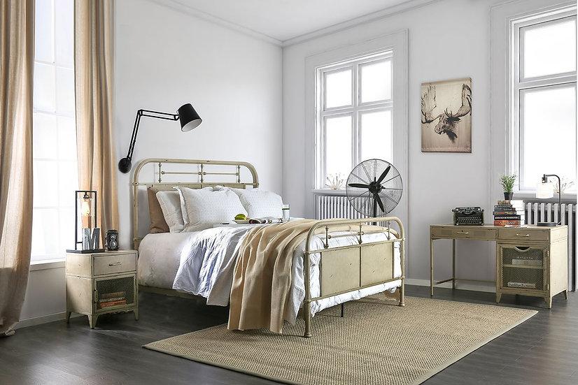 Haldus White Queen Metal Panel Bed
