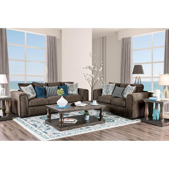 Furniture of America Pauline Brown Chenille Nailhead Sofa