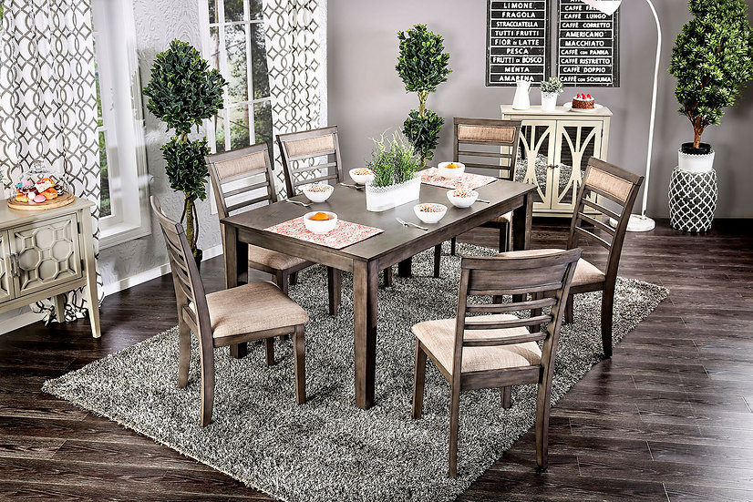 Furniture of America Taylah 7 PC. Dining Table Set