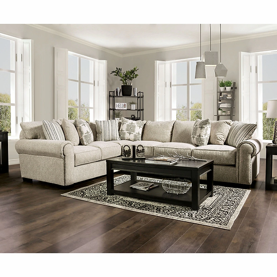 Furniture of America Stapleford Transitional Nailhead Trim Sectional