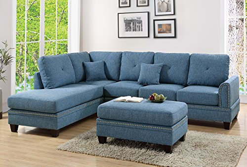 Blue 2-Pcs Sectional Sofa