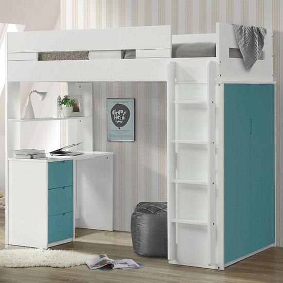 Nerice Blue Twin Loft Bed