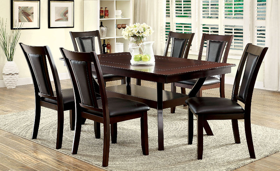 Furniture of America Brent 7 Piece Display Top Dining Table Set - Dark