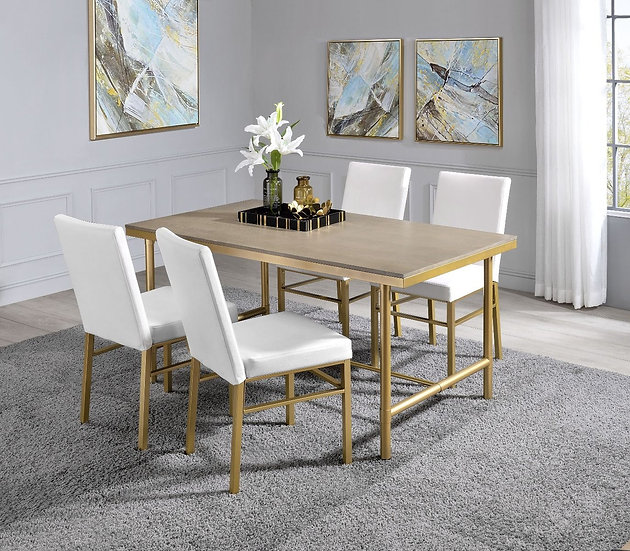 5Pc Glam, Industrial Dining Set