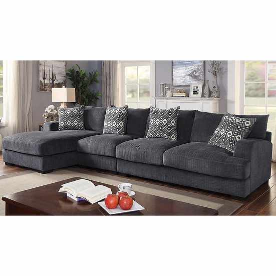 Furniture of America Contemporary Grey Large L-Shaped Sectional