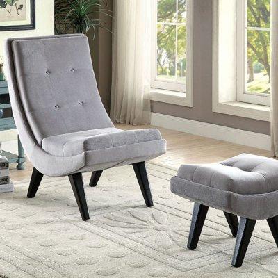 Esmeralda Chair w/ Ottoman, Gray