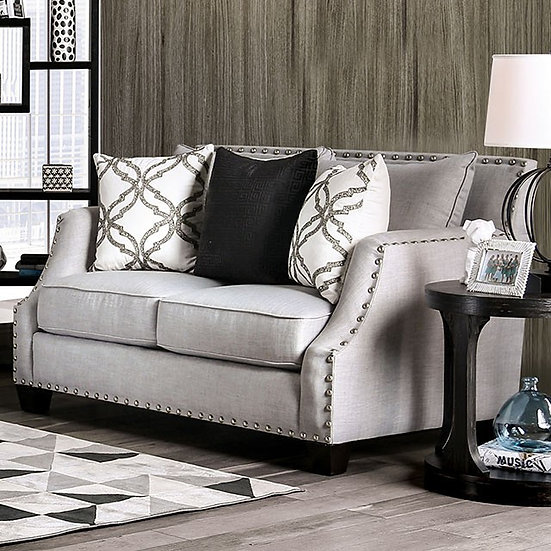 Furniture of America Phoibe Contemporary Chenille Loose Back Loveseat
