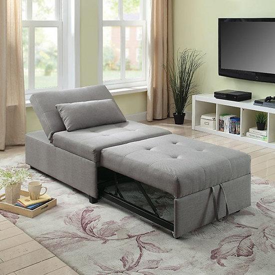 Furniture of America Oona Modern Linen Fabric Convertible Futon Chair