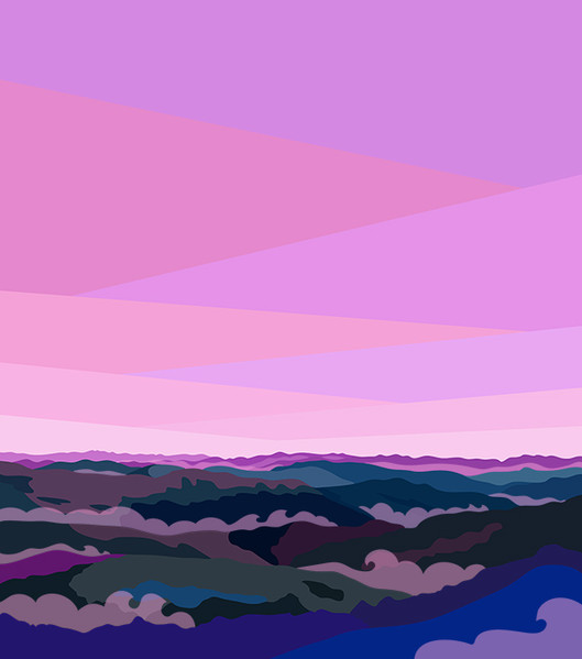 Illustration of Blue Ridge Mountains