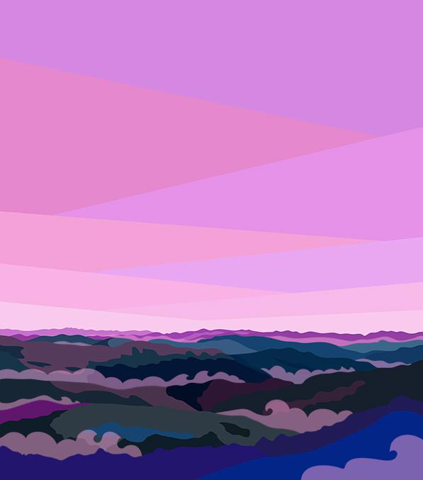 Illustration of Blue Ridge Mountains