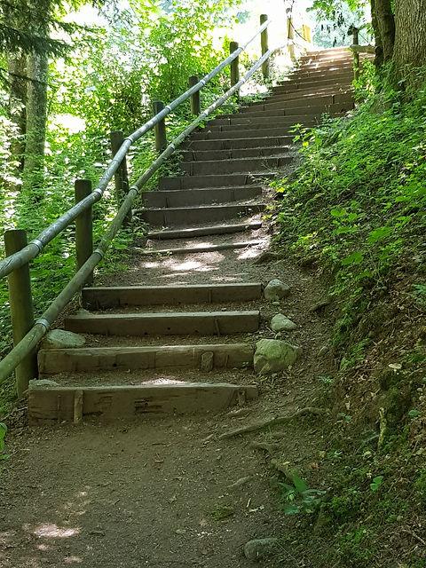 Escalier menant au Saut du Bouchot