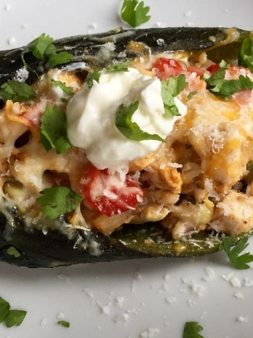 Chicken Stuffed Poblano Peppers w/Cheeese