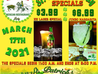Join us St. Patrick Day for delicious Margaritas and beer! - Wednesday, March 17