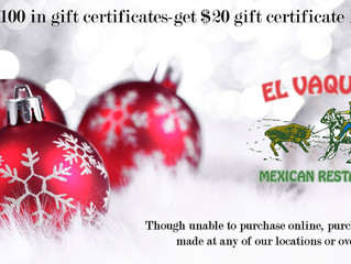 Special Holiday Offer from El Vaquero