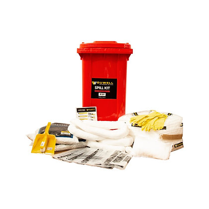 Front view of red oil and fuel spill kit with contents 240L
