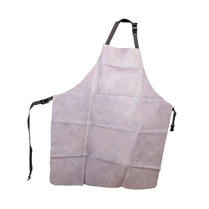 front view white leather welders apron