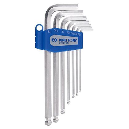 Ball Hex Key Sets, Long, Imperial, 7 Piece