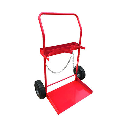 Side view of red Gas Cylinder Trolley with Solid black Wheels