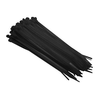 Side view of group of black cable ties