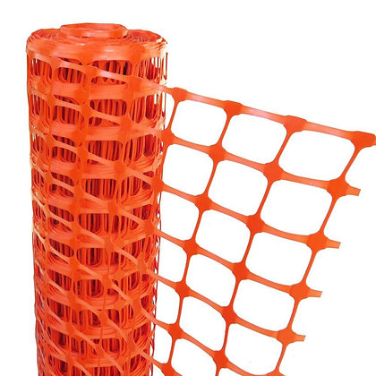 Side view of orange polyethylene barrier mesh on spool