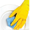 Yellow rubber glove cleaning dish with chux
