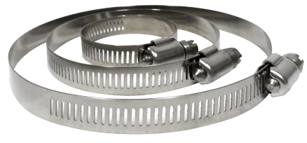 side view of three stainless steel hose clamps