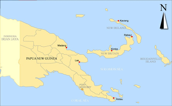 Map of Rabaul PNG
