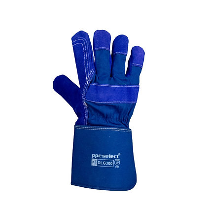 back view blue leather glove