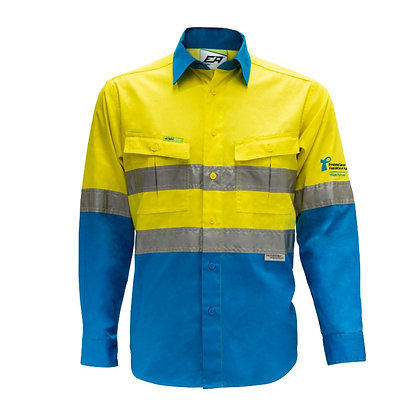 Front of Yellow/Sky Blue Endurite 155gsm Work Shirt PCFA