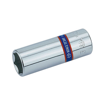 "Side view Chrome Socket, Deep - 1/4"" Drive, 12 Point, Metric"
