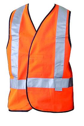 Fluoro Orange Hi-Vis Reflective Safety Vest, H-Back