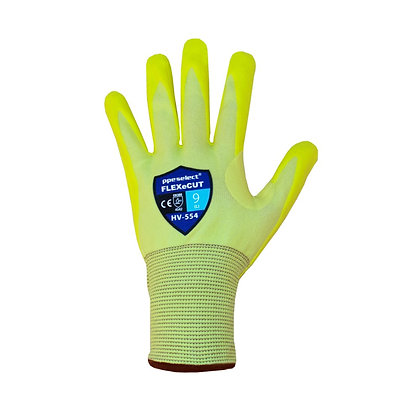 back view high vis yellow cut 5 glove