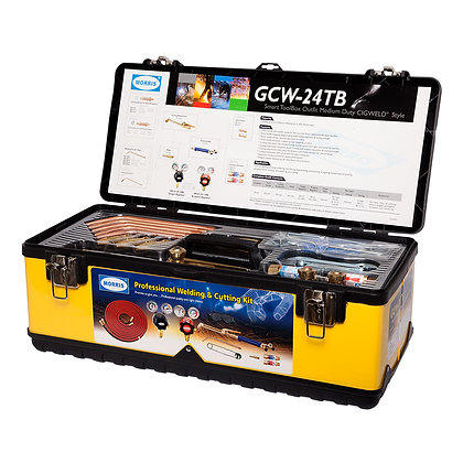 Front view open gas welding and cutting kit