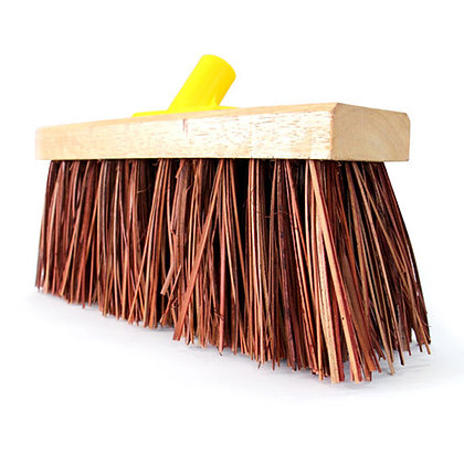 side view of wooden broom head